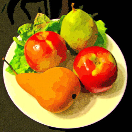 plate of food: Colorful Plate of Food - Fruit with apples and pears