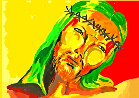 Colorful Religious Picture of Holy Jesus
