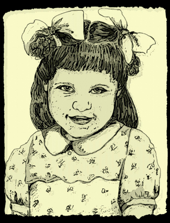 Sketch of Little Girl with Bows in Her Hair