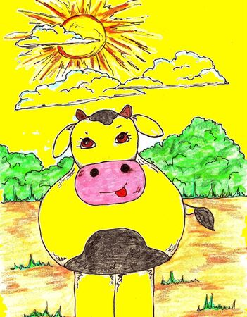 Illustration f a Yellow Holstein Cow Illustration