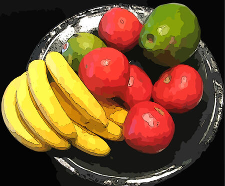 Colorful Bowl of Fruit with Bananas and Pears
