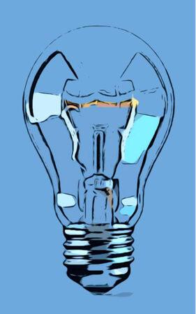 electric bulb: Blue Electric Light Bulb for Ideas Illustration