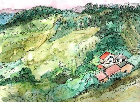 landscape painting: Tuscany Landscape Painting Illustration