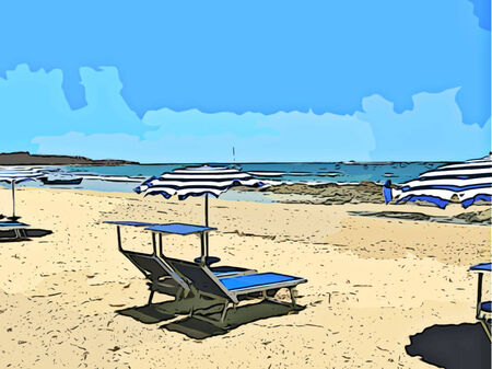 lounging: Beach Chairs Illustration