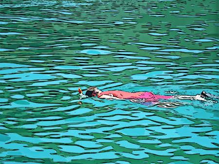 Swimming Snorkeling Illustration