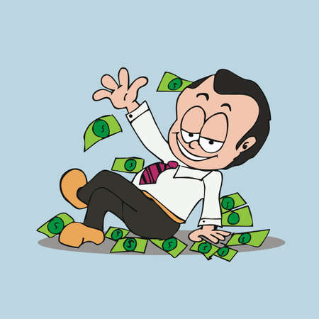 rich man: rich man cartoon Illustration