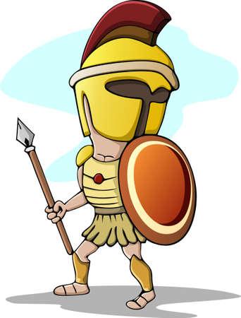 the trojan: Spartan Trojan Cartoon with Spear Illustration