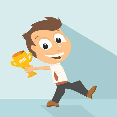 commendation: Businessman holding winning trophy, flat design Illustration