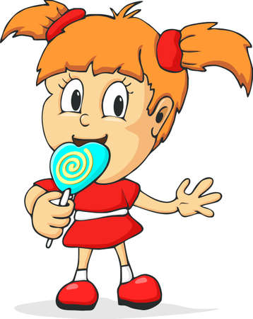 child tongue: Little girl with lollipop