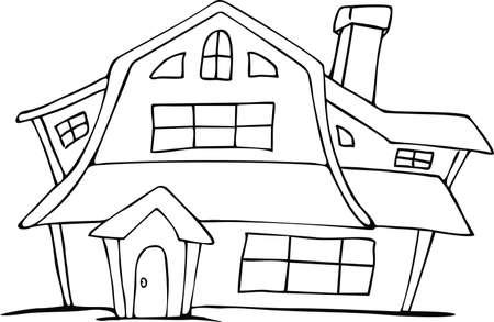 Getrokken doodle stijl Nederlandse huis cartoon