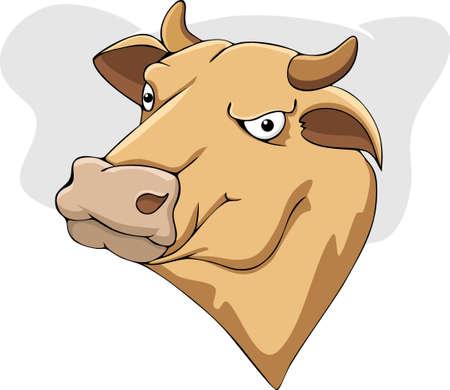 Illustration cartoon cow head