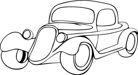 Handzeichnung Oldtimer mit ornamental.Doodle Stift gezeichnet Hintergrund. Vektor-Illustration