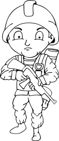 crayon drawing: Soldier Doodle, Childrens crayon drawing. Illustration