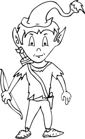 pointy: Cartoon happy smiling garden gnome elf or pixie man with a pointy hat and beard