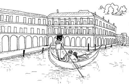 italian landscape: Venice skyline with Gondola Hand drawn Sketch Outline