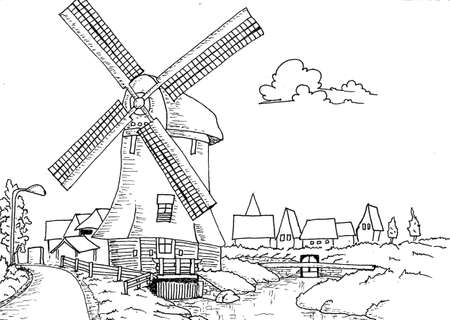 water mill: Hand drawn dutch landscape with mill illustration, for coloring book for adult Stock Photo