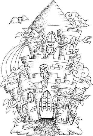 Black And White Illustration Of A Fairy House With Details For Adult Coloring Book Vector