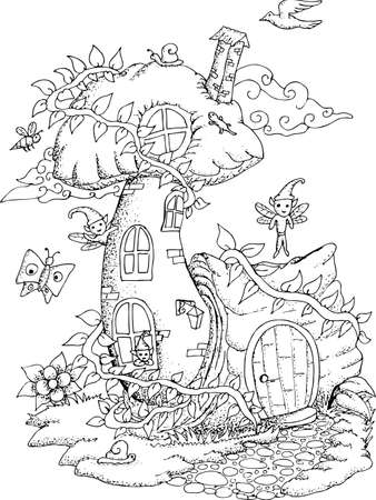 Black And White Illustration Of A Fairy House With Details For Adult Coloring Book Stock Vector