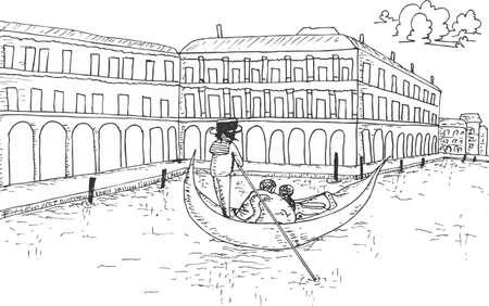 Blick in Venedig mit Gondel Hand gezeichnete Illustration Vektorgrafik