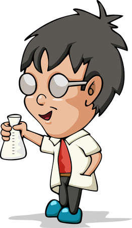 Boy doing chemical experiment. Young scientist. Kid holding test flask in hands. Illustration