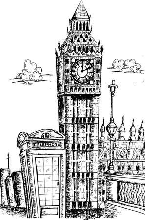 london landmark: sketching of big ben london landmark