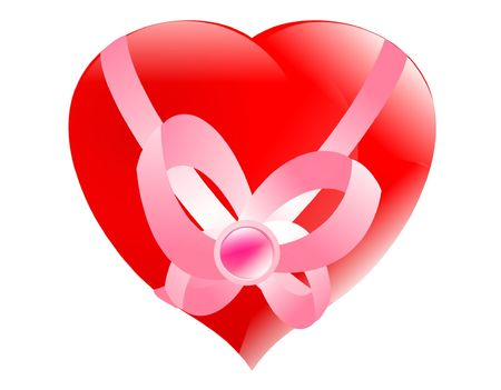 favourite: Beautiful glass heart in a gift favourite or favourite Stock Photo