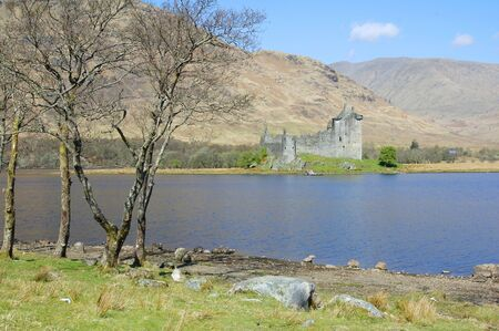 awe: view over Loch Awe to Kilchurn Castle Stock Photo