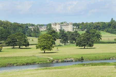 tweed: view of Floors Castle and parkland with river Tweed Stock Photo