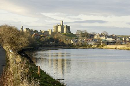 view of Warkworth castle and the river Aln near Alnwick photo