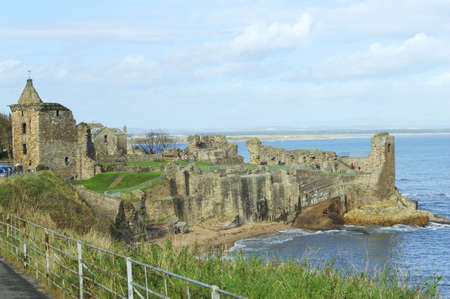 ruins of St. Andrews ancient castle with Angus coast in background Stock Photo - 8035704