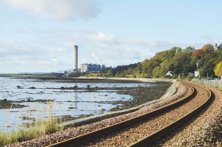 forth: Longannet Power Station and railway on river Forth estuary