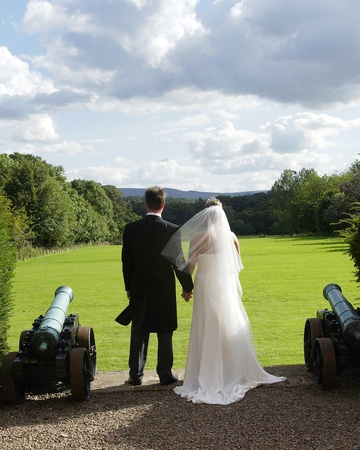 looking forward: newly weds standing next to cannons with gardens and landscape                                Stock Photo