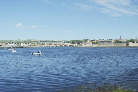 river Tweed estuary, bridges and city walls of Berwick upon Tweed photo