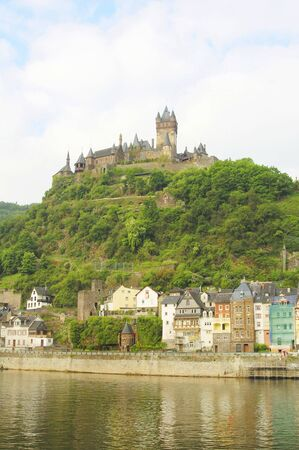 burg: Burg Cochem from river mosel in Germany Stock Photo