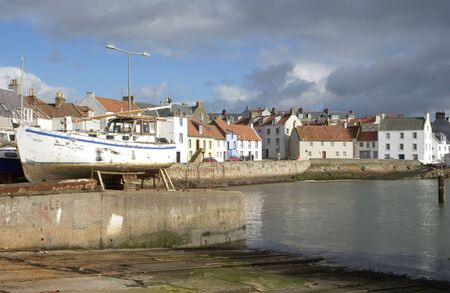 slipway: St. Monans boats, harbour and fishing village in Fife, Scotland
