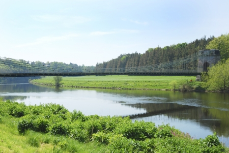 Union chain bridge at Horncliffe over river Tweed Stock Photo - 13777340
