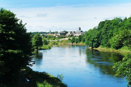 tweed: river Tweed with town of Coldstream on the Scottish Borders in summer