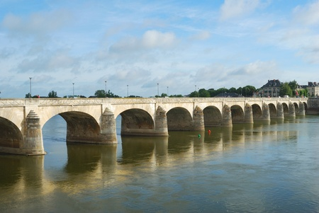 arched bridge over the Loire river in Saumur, France