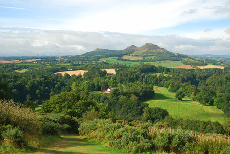 walter scott: Eildon Hills and Scottish Borders countryside from Scotts View