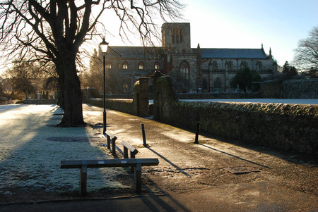 frost and shadows by riverside Haddington Stock Photo