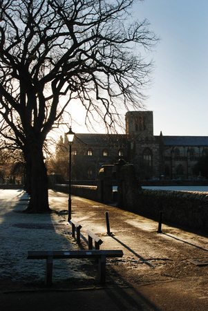 frost and shadows by church in Haddington