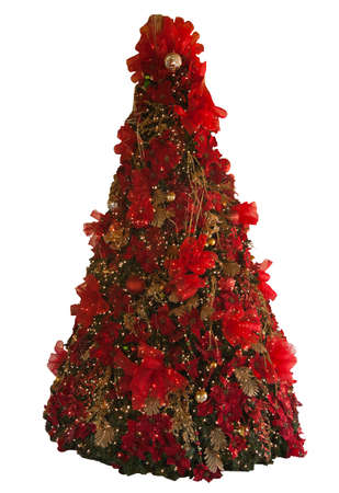 High Christmas tree decorated red and gold isolated