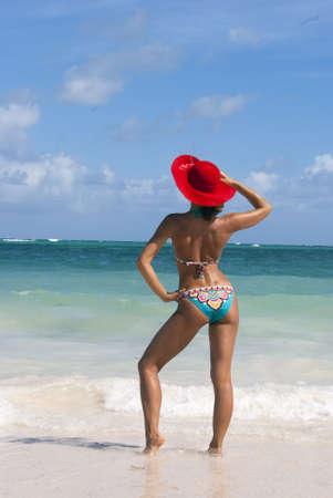Sexy beaytiful woman in bikini posing on the caribbean beach Stock Photo - 8896223