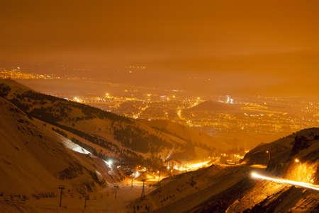 Night view on Erzurum from Palandoken Stock Photo