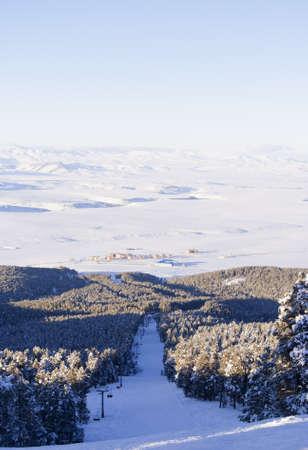 Veiw of black ski route in Sarikamis. Turkey.