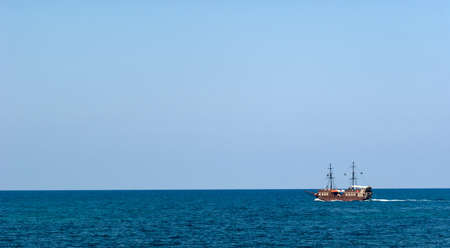 Pirate ship cruise on the sea. Background.