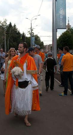 KHARKOV, UKRAINE - JUNE 9: Netherland fan goes to stadium before match on June 9, 2012 in Kharkov. Editorial
