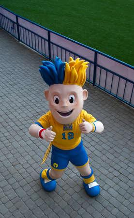 Symbol of EURO 2012 Slavko poses on stadium before match
