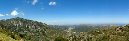 Panoramic view to cretan mountains from road to Lasithi Plateau. Crete, Greece
