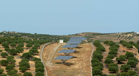 Array of solar battery in olive grove. Crete. Greece